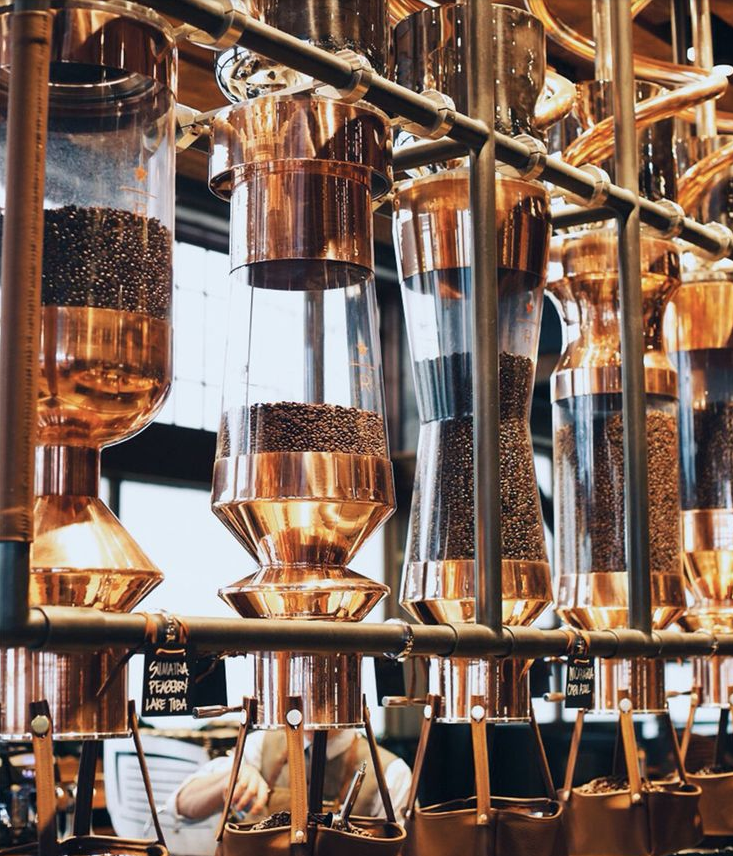 We love the copper accents inside the Starbucks Reserve Roastery & Tasting Room in Seattle